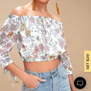 NWT J.O.A. Ivory Floral Off-the-Shoulder Crop Top